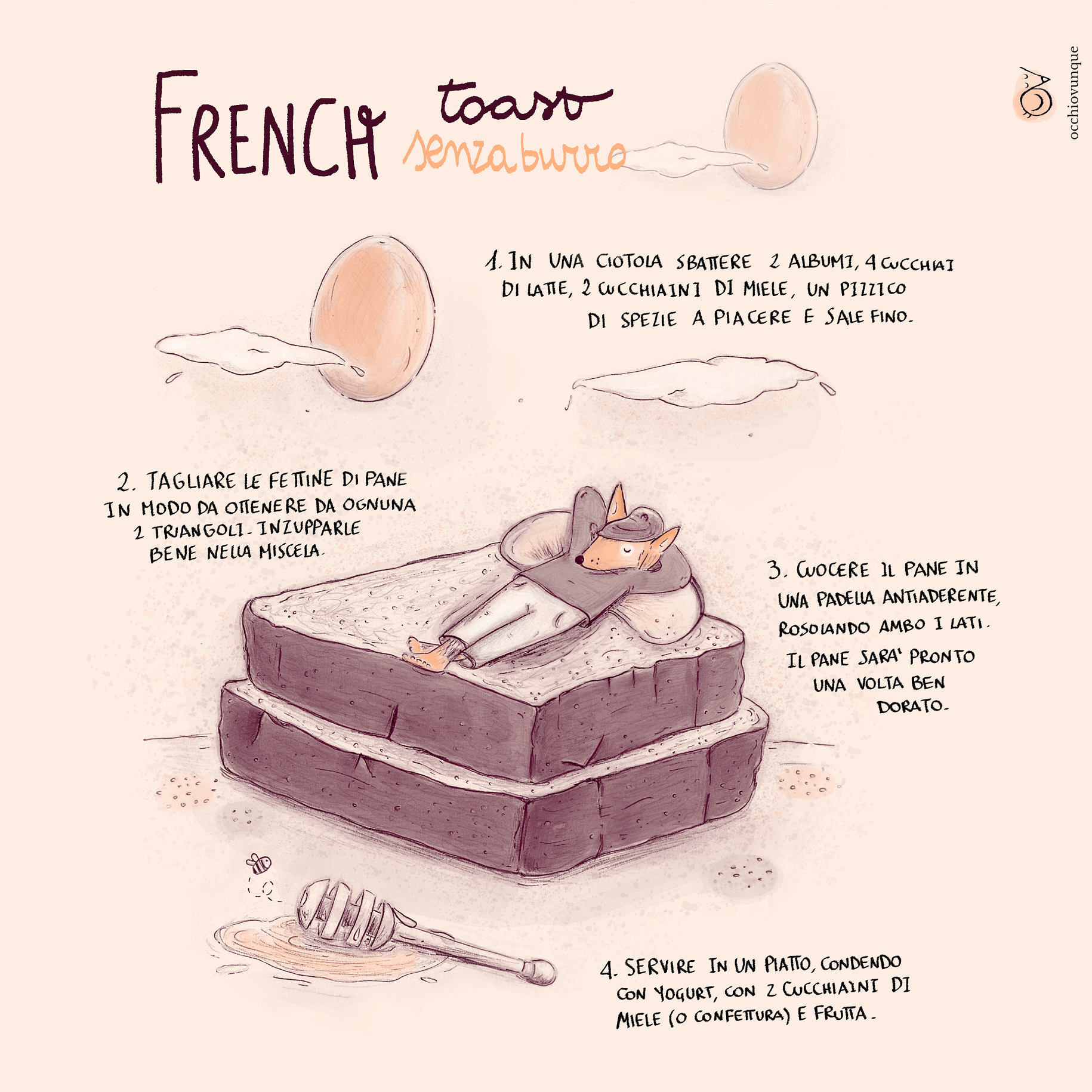 french toast senza burro ricetta disegnata Valentina Scannapieco
