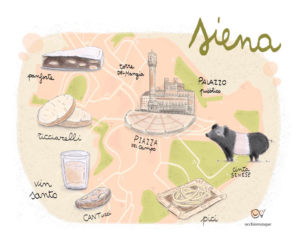 siena mappa illustrata cosa mangiare e vedere